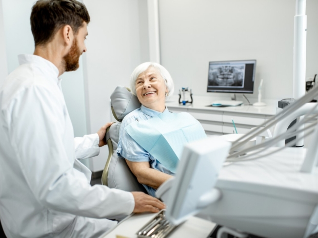 Older adult in dental examination room