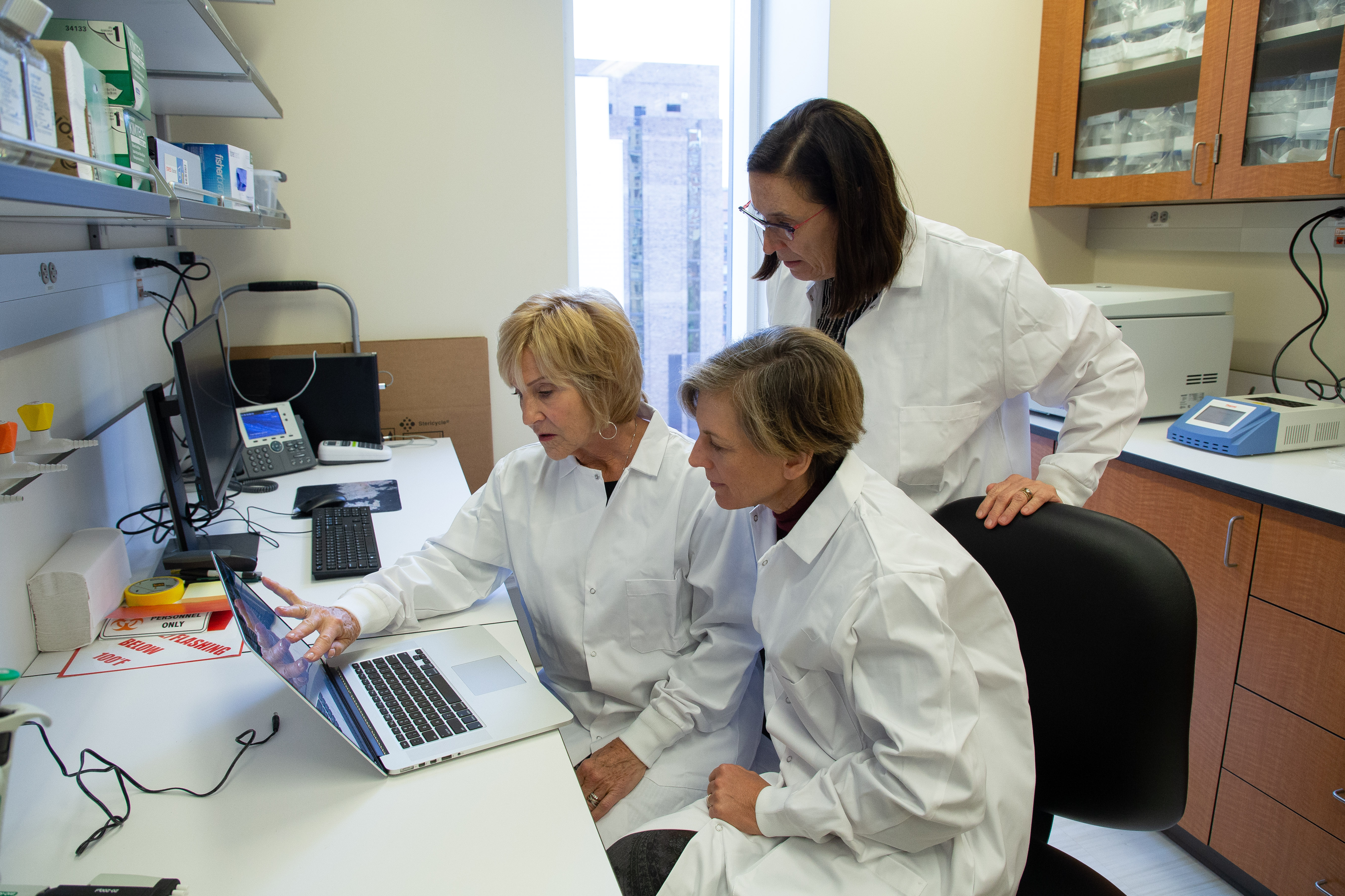Dr. Gail Melkus, Dr. Susan Malone, and Dr. Fay Wright in the lab.