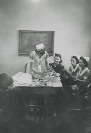 Nurse leading a classroom of students
