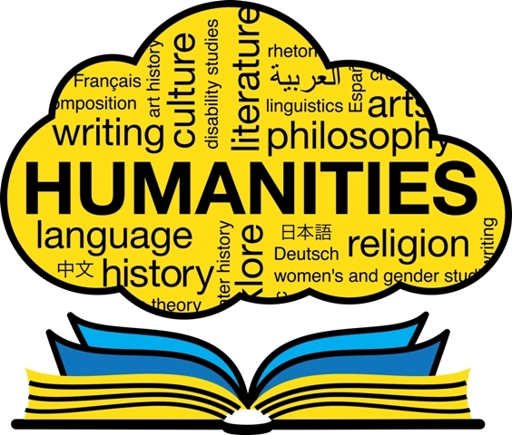 book open with words related to humanities in cloud above