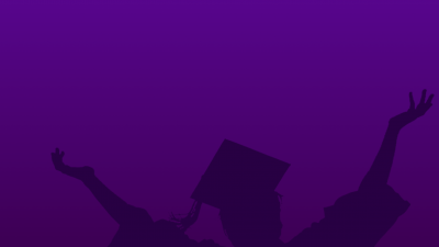 outline of a graduate on purple background