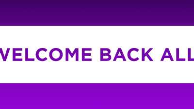 Welcome Back All! on a purple background